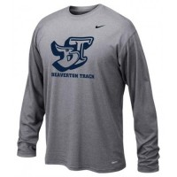 Beaverton Track: Adult Size - Nike Team Legend Long-Sleeve Crew T-Shirt - Heather Gray