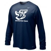 Beaverton Track 19: Adult-Size - Nike Team Legend Long-Sleeve Crew T-Shirt - Navy Blue